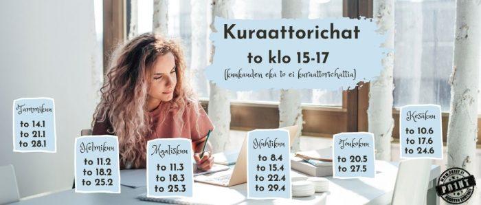 Kiharatukkainen nuori nainen tekee läksyjä läppärin äärellä. Aurinko paistaa ikkunasta ja valaisee työpöytää ja tytön hiuksia. Kuraattorichat to klo 15-17 (kuukauden ensimmäinen torstai ei kuraattorichattia)