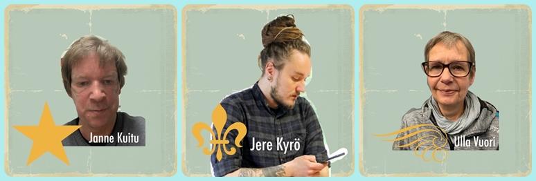 Nuorisonohjaajat Janne Kuitu, Jere Kyrö ja Ulla Vuori