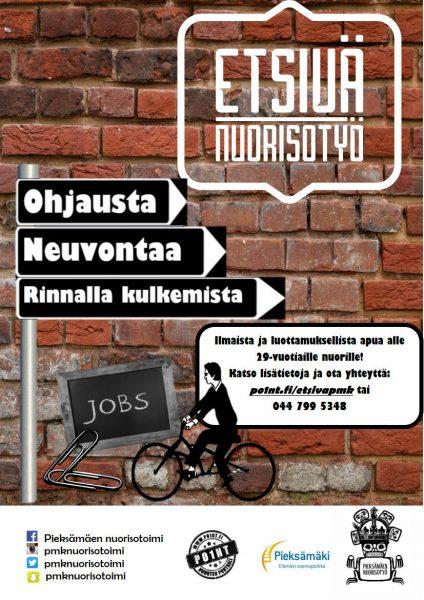 Tiiliseinällä etsivän nuorisotyön mainos. Ohjausta, Neuvontaa, Rinnalla kulkemista. Ilmaista ja luottamuksellista apua alle 29-vuotiaille