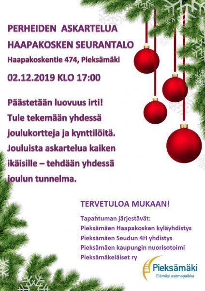 Haapakosken seurantalolla 2.12. klo 17 alkaen perheiden askarteluilta! Tehdään joulukortteja ja kynttilöitä