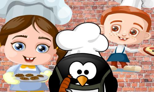 Kuvassa tyttö, pingviini ja poika. Taustalla tiiliseinä. Jokaisella kokinhattu. Tytöllä ruskeat saparot ja kädessä keksejä. Pingviinillä kädessään grillattu makkara. Pojalla oranssi tukka ja kädessään pizza.