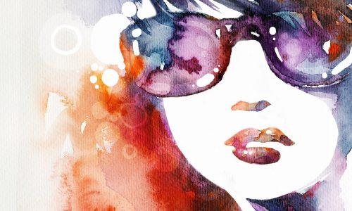 maalattu kuva naisesta aurinkolasit päässä