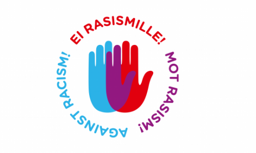 Ei rasismille kampanjan logo. Kuvassa punainen ja sininen käsi.