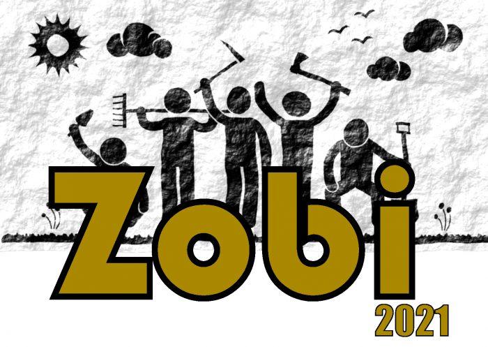 Tekstinä Zobi 2020, ihmishahmoja taustalla