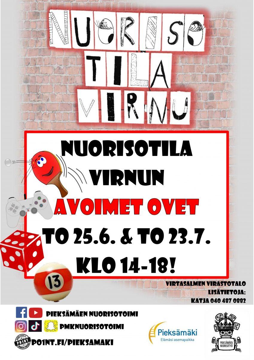 Nuorisotila Virnun avoimet ovet. to 25.6. ja to 23.7. klo 14-18.