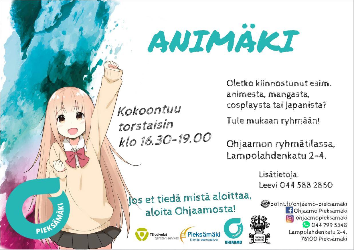 """Kuvassa on nuorten animäki mainos. Kuvassa on anime tyttö ja vesiväri liukuväri vasemmalla reunalla. Otsikolla Animäki. Keskellä tekstiä """"kokoontuu torstaisin klo 16.30-19.00."""" Vasemalla tekstiä """"Oletko kiinnostunut esim. animesta, mangasta, cosplaysta tai Japanista? Tule mukaan ryhmään! Ohjaamon ryhmätilassa, Lampolahdenkatu 2-4. Lisätietoja: Leevi 044 588 2860."""""""