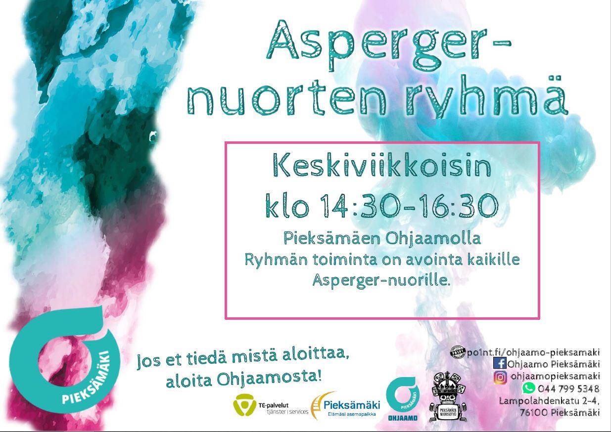 Kuvassa on asperger-nuorten ryhmän mainos. Mainoksessa kerrotaan ryhmän kokoontuvan keskiviikkoisin klo 14:30-16:30 Pieksämäen ohjaamolla. Ryhmä on kaikille asperger nuorille avoin.