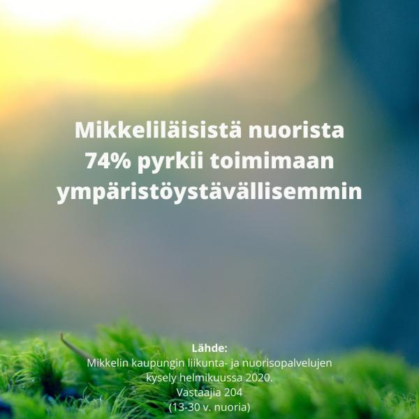 Mikkeliläisistä nuorista 74% pyrkii toimimaan ympäristöystävällisemmin. Lähde: Mikkelin liikunta- ja nuorisopalvelujen kysely helmikuussa 2020.