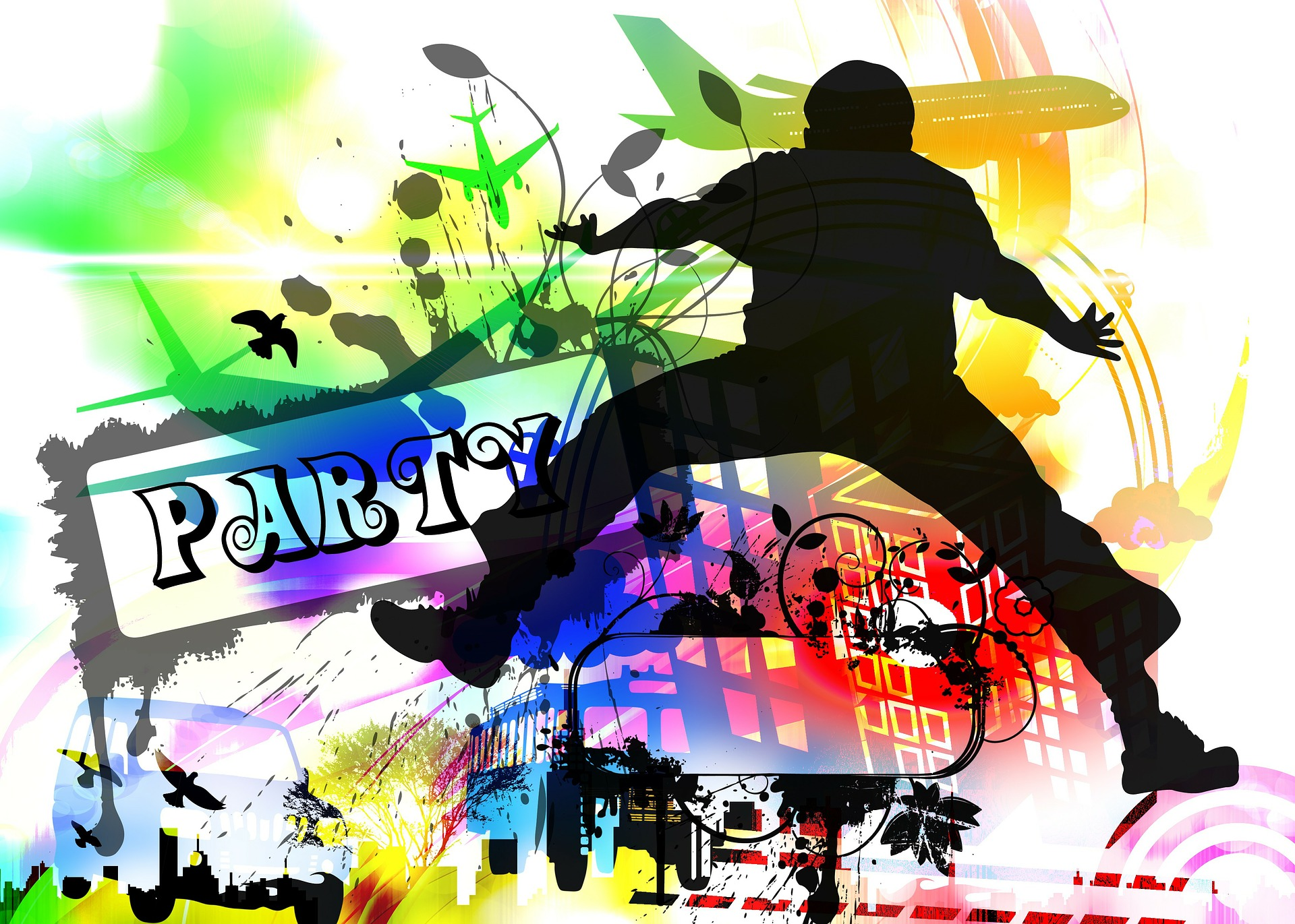 kuvassa hyppäävä hahmo. Värikäs tausta
