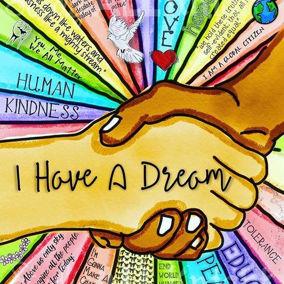 Piirretty kuva, jossa kaksi kättä kättelee. Tekstinä I have A dream. Sivuilla Martin Luther Kingin aatteita ja arvoja, esimerkiksi kindness, Human & Love.