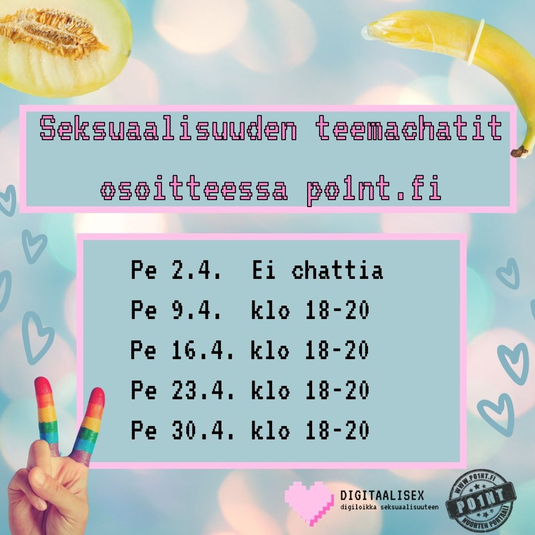 Pastellin värisellä taustalla digitaalisex-hankkeen seksuaalisuuden teemachat-mainos.